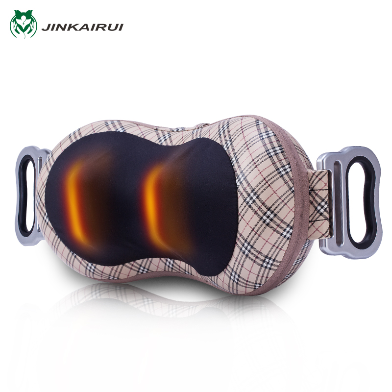 цена на JinKaiRui Shiatsu Deep Kneading Massage Pillow Shawl Infrared Heat Massager Relaxation Relieve Neck Shoulder Back Pain