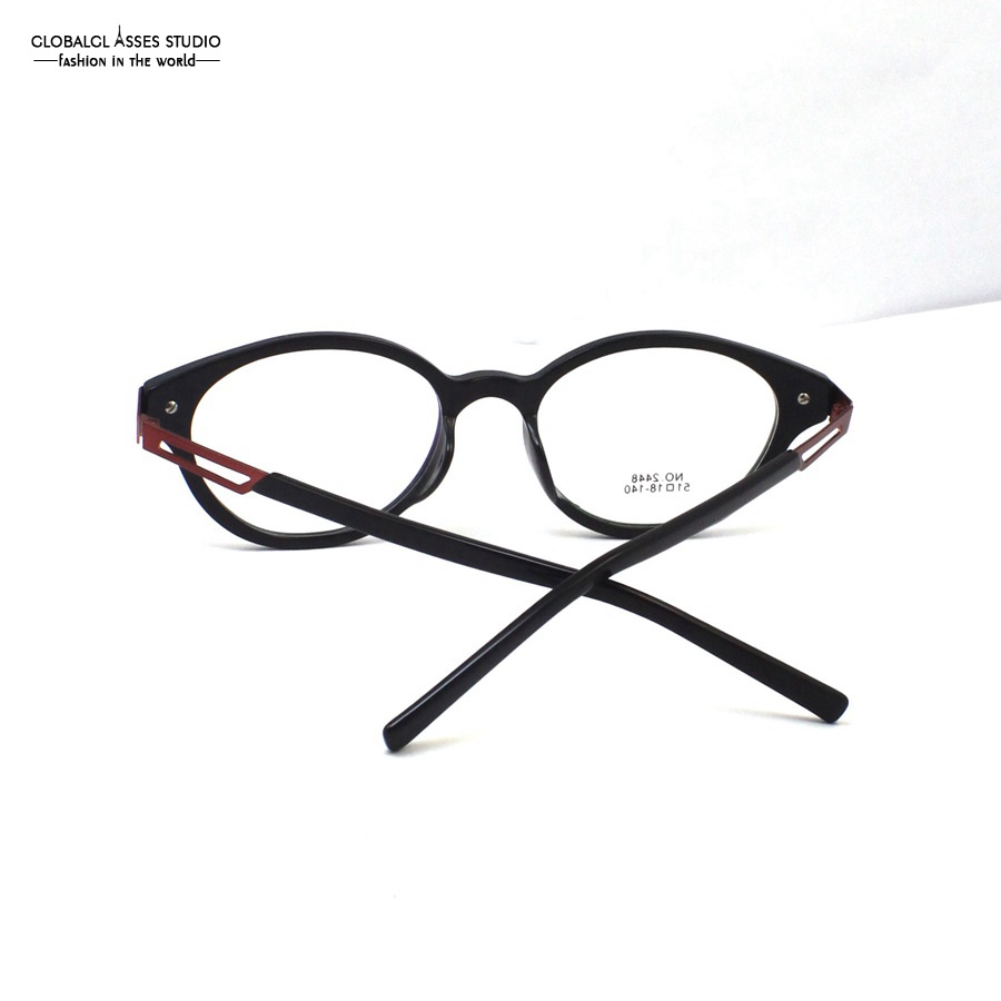 57d167942 Retro Round Acetate Glasses Frame Women Red Metal Hollow Temple Plastic Tip  Small Shape Patchwork Eyeglasses NO.2448 COL.7-in Women's Eyewear Frames  from ...