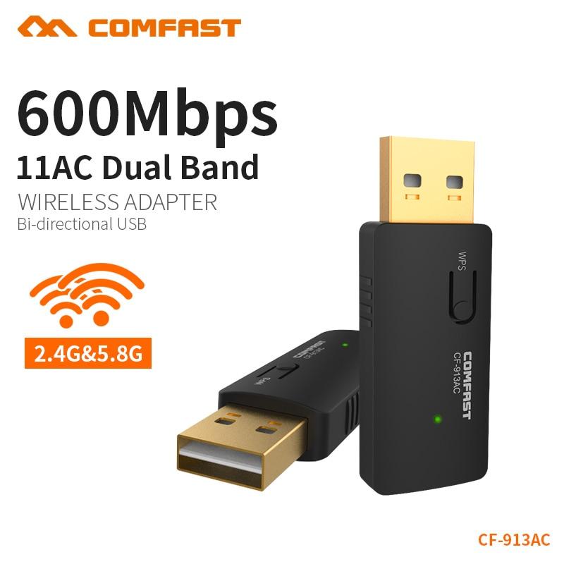 COMFAST Wireless USB Wi-Fi Adapter 600mbps 2.4GHz 5GHz Network Card 802.11b/n/g/ac Wi fi Adapter Mini PC WiFi Dongle CF-913AC comfast cf wn730a 1000mw 2 4ghz 802 11b g n 150mbps usb wireless wifi network adapter