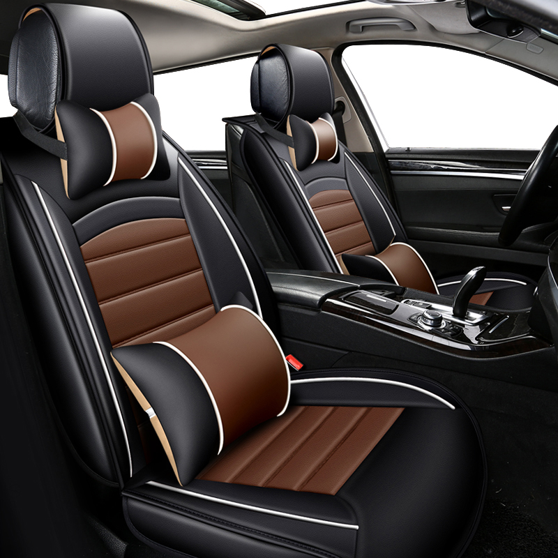все цены на KOKOLOLEE PU leather car seat covers set For Toyota RAV4 PRADO Highlander COROLLA Camry Prius Reiz CROWN yaris auto accessories онлайн