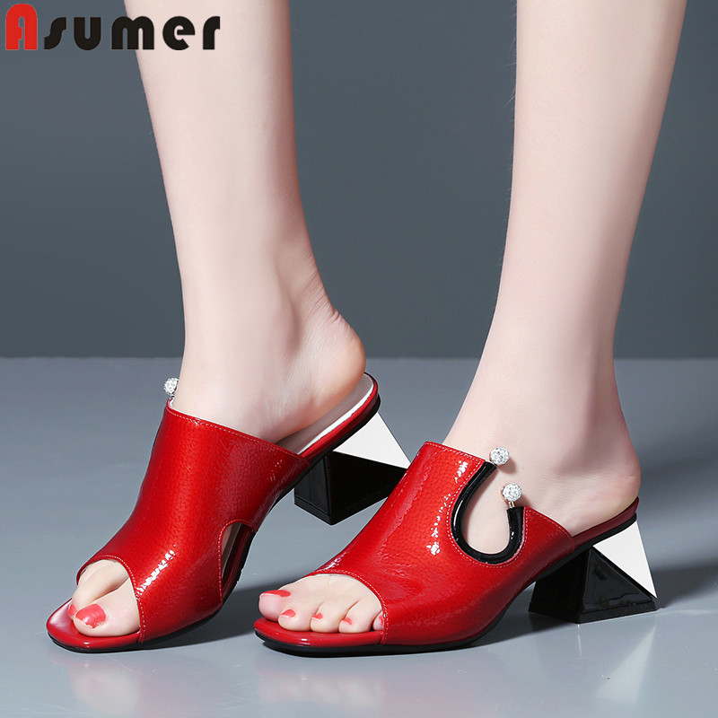 ASUMER big size 34 41 fashion summer new shoes woman peep toe shallow square heel patent