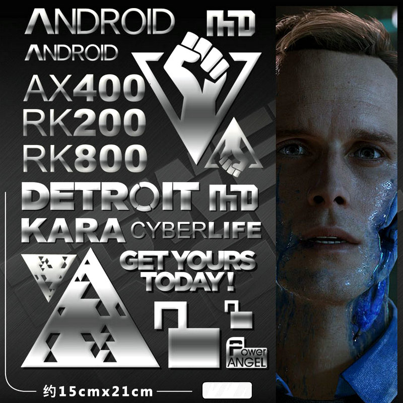 9pcs set Metal Sticker Detroit Become Human Stickers for Phone Laptop Car Decal Teenages 3D DIY Sticker Toy in Stickers from Toys Hobbies