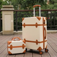 LeTrend Rolling Luggage Spinner Retro skid Suitcase Wheels 20 inch Students Carry on Trolley 26 inch High capacity Travel Bag