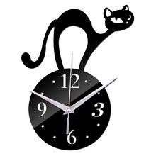 2018 modern New 3d Wall Clock cat Design Quartz Diy Clocks creative Stickers living room art safe Home Decor free Shipping