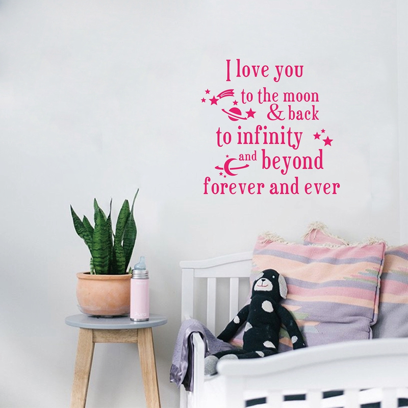 i love you to the moon and back vinyl wall decal nursery. Black Bedroom Furniture Sets. Home Design Ideas