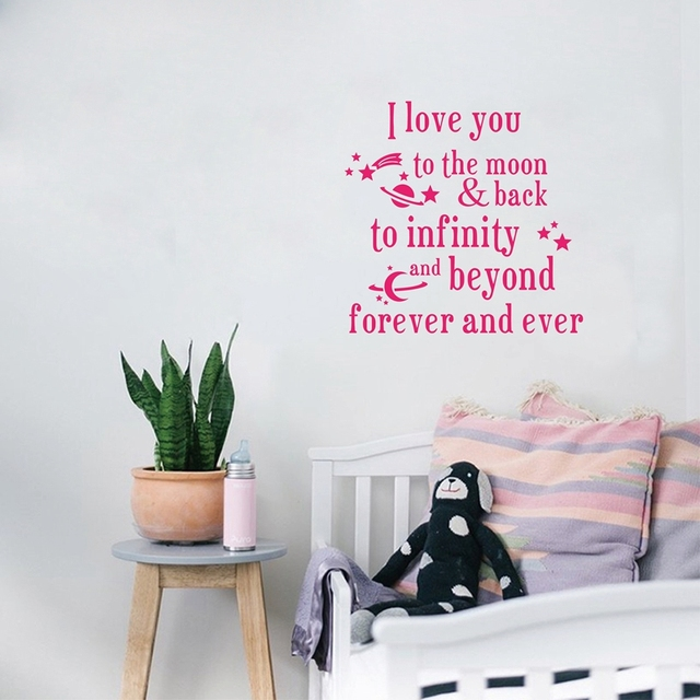 i love you to the moon and back vinyl wall decal nursery lettering