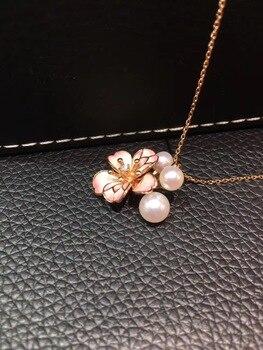 Rosa sakura oriental cherry COLLAR COLGANTE de 5-7MM natural perlas de agua marina akoya colgante 18K oro rosa con diamantes de joyería fina