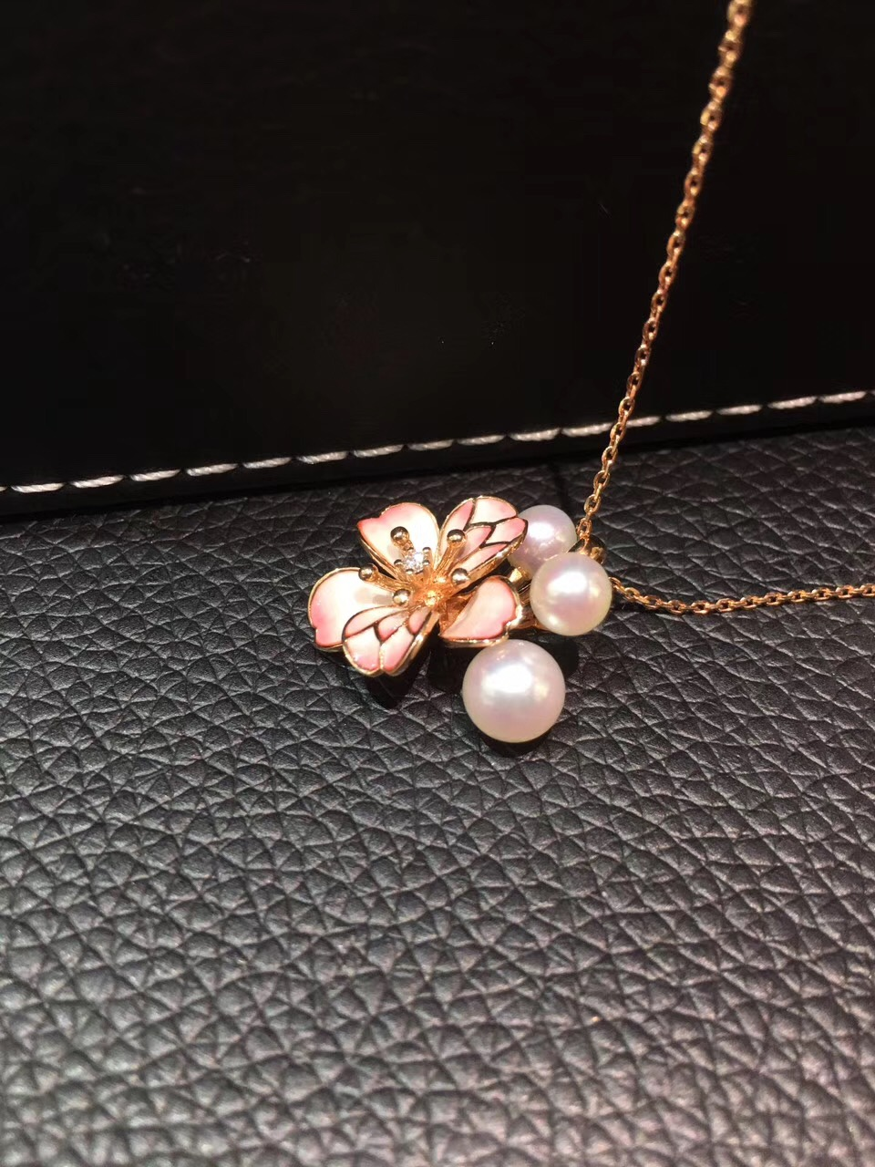 pink sakura oriental cherry pendant necklace 5-7MM natural sea water pearl akoya pendant 18K rose gold with diamond fine jewelry hot sale new style aaaa 7mm genuine akoya pink sea water pearl necklace 14kgp j5534