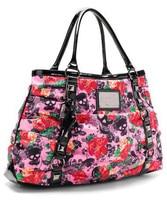 Luxury Flower Handbags Women Shoulder Bags Designer Rivet Hand Bag for Women 2018 Black Skull Floral Handbag Garden Tote Bag