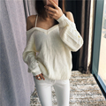 Women Off The Shoulder Sexy Sweater V-Neck Backless Cross Strappy New 2017 Ladies Knitted Pullovers Black / White