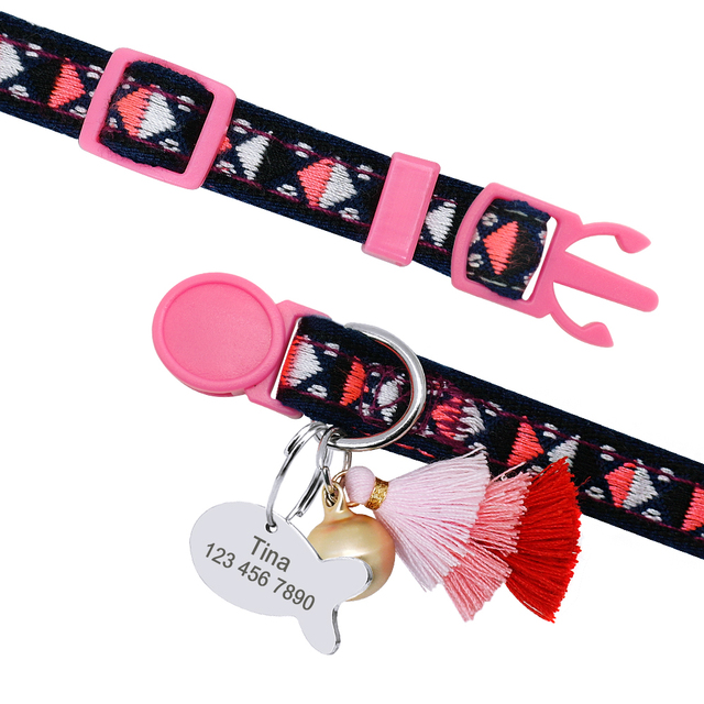 Personalized Cat Collar With Bell And Number Tag  4