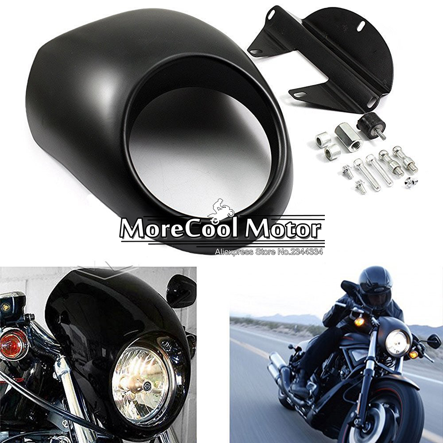 ФОТО Headlight Fairing Mask Front Cowl Mount Headlamp Visor Bracket Set For Harley Sportster Cafe Drag Dyna FX XL 39mm Glide Fork