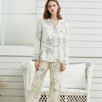 Fashion Pijamas Pants Suit Elegant Women Spring Sleepwear Comfortable Pyjamas For Ladies Sleepwear 2 pcs Suit Gentlewoman