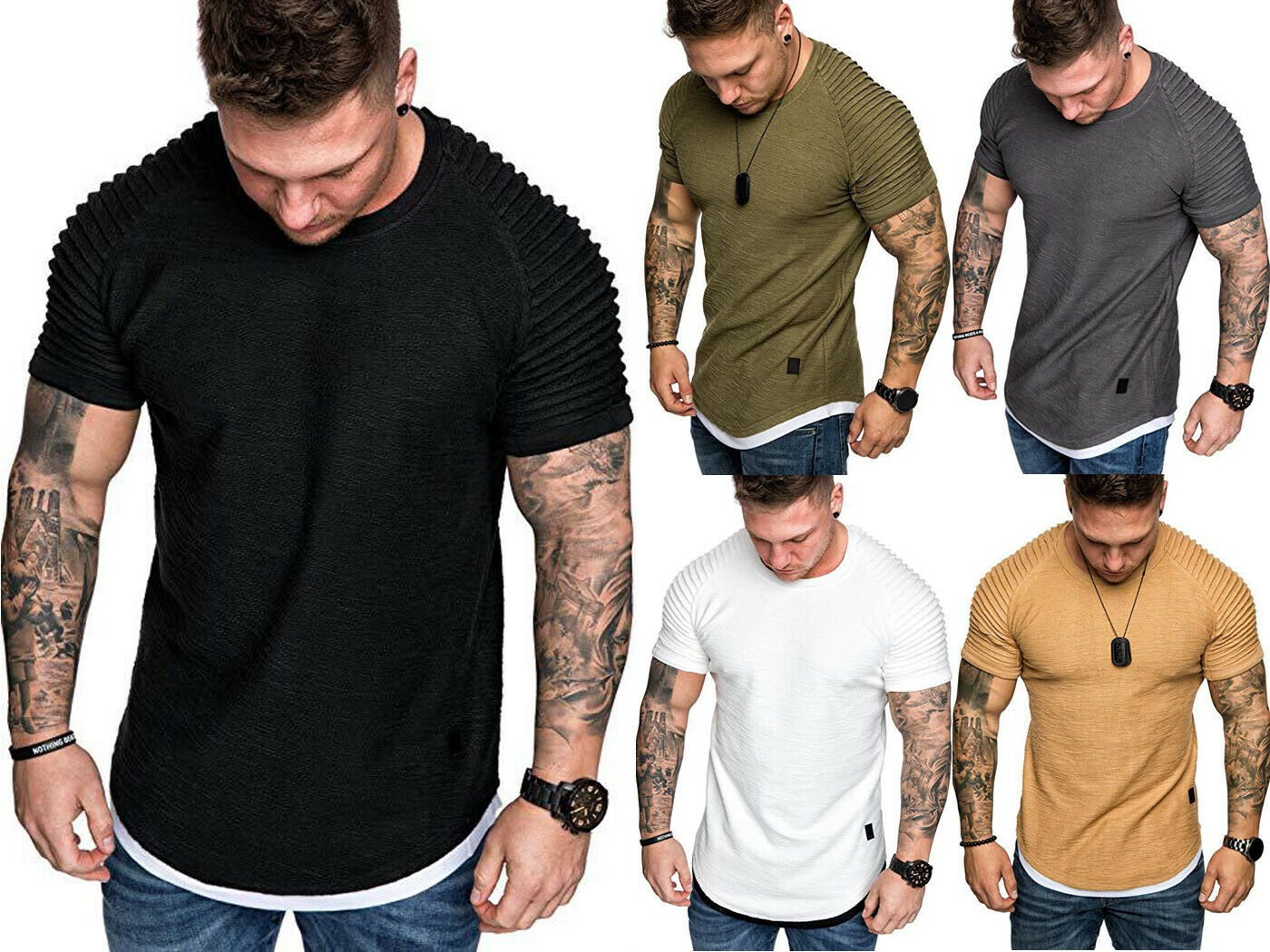 Men Slim Fit O-Neck Wrinkled Tee Casual Short Sleeve T-shirt Wrinkled Tops Summer Clothing Muscle Plain Tee 5 Colors Tooling