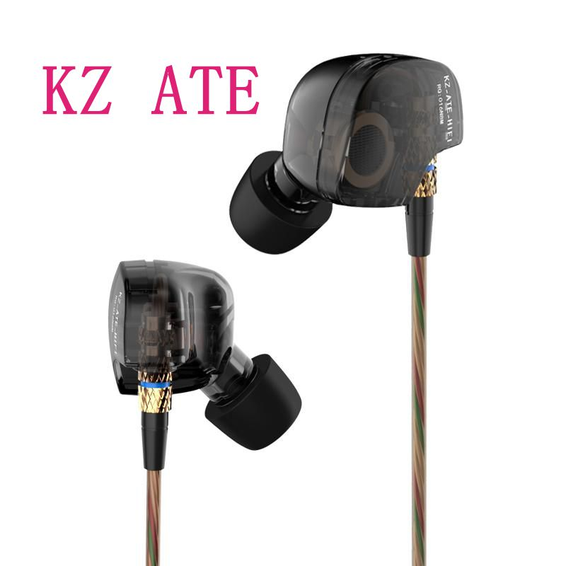 все цены на New Arrival Earphone Original KZ ATE Copper Driver Ear Hook HiFi In Ear Earphone Sport For Running With Foam Eartips With Micro онлайн