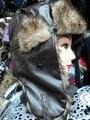 warm fur hat   male Russian cap rabbit fur leather hat   winter hat