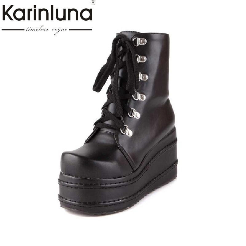 Karinluna Big Size 31-43 Women Ankle Boots Hot Sale cosplay High Heel Wedges Shoes Woman BLACK WHITE Autumn Winter BootsKarinluna Big Size 31-43 Women Ankle Boots Hot Sale cosplay High Heel Wedges Shoes Woman BLACK WHITE Autumn Winter Boots