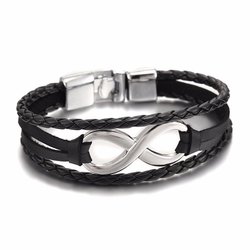 Bracelet en cuir style infinity