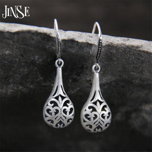 JINSE Wholesale S990 Pure Silver Earring Thai Fashion Jewelry Fine Hollow Out Waterdrop Earrings 11mm*24mm