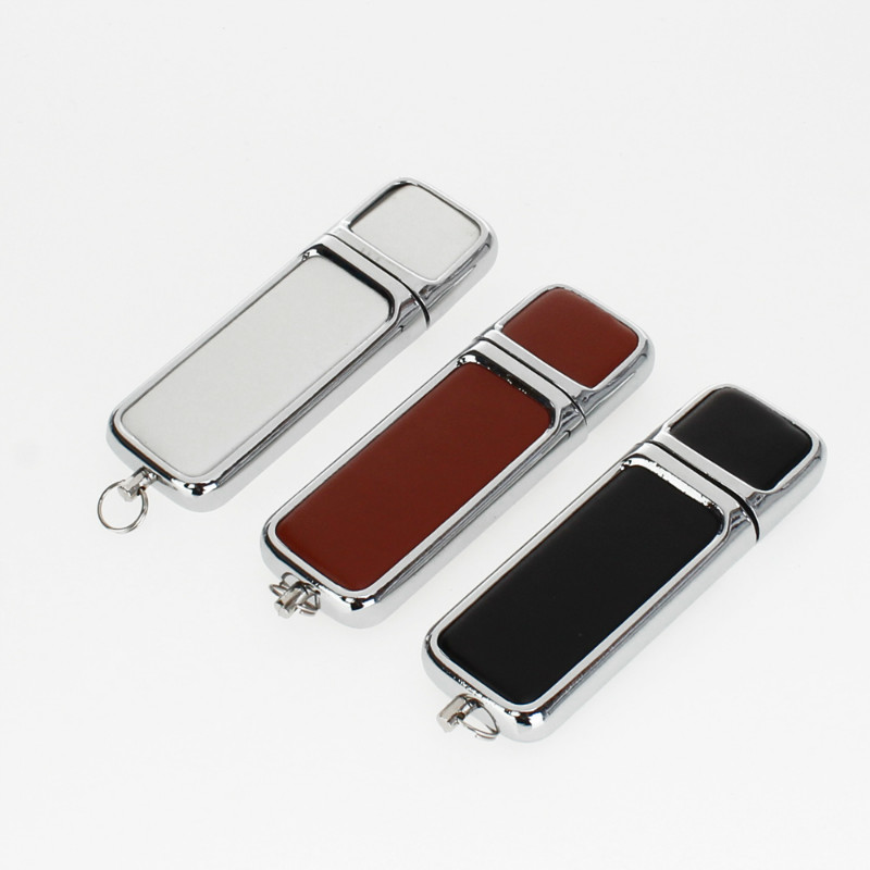 Business Metal Leather Usb Flash Drive 4GB 8GB 16GB Pen Drive 32gb Usb Stick 64GB 128GB High Quality Pendrive Free Custom Logo-in USB Flash Drives from Computer & Office