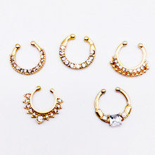NEW white Crystal fake nose ring gold color round septum Piercing clicker faux clip non Body Hoop For Women body jewelry(China)