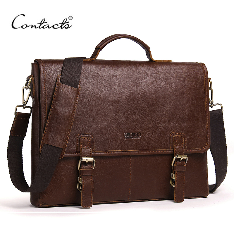 CONTACT'S Genuine Leather Men's Briefcase Brand Design Men Messenger Bags Business Handbags Shoulder Bags Cross Body Bag Male deelfel new brand shoulder bags for men messenger bags male cross body bag casual men commercial briefcase bag designer handbags