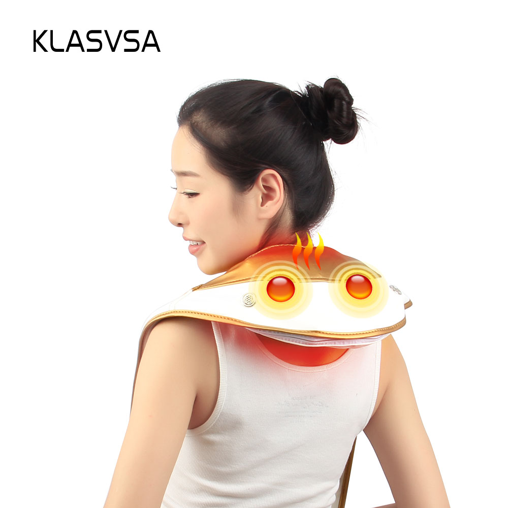 KLASVSA Heating Knock Back Massager Infrared Therapy Cervical Neck Shoulder Pound Shawl Relaxation Pain Relief Health Care high end health care neck cervical traction ems therapy massage collar infrared heating magnet vibration massager pain relief