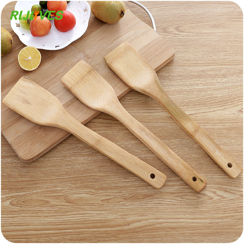 1Pc Natural Health Bamboo Wood Kitchen Slotted Spatula Spoon Mixing Holder Cooking Utensils Dinner Food Wok Shovels Turners