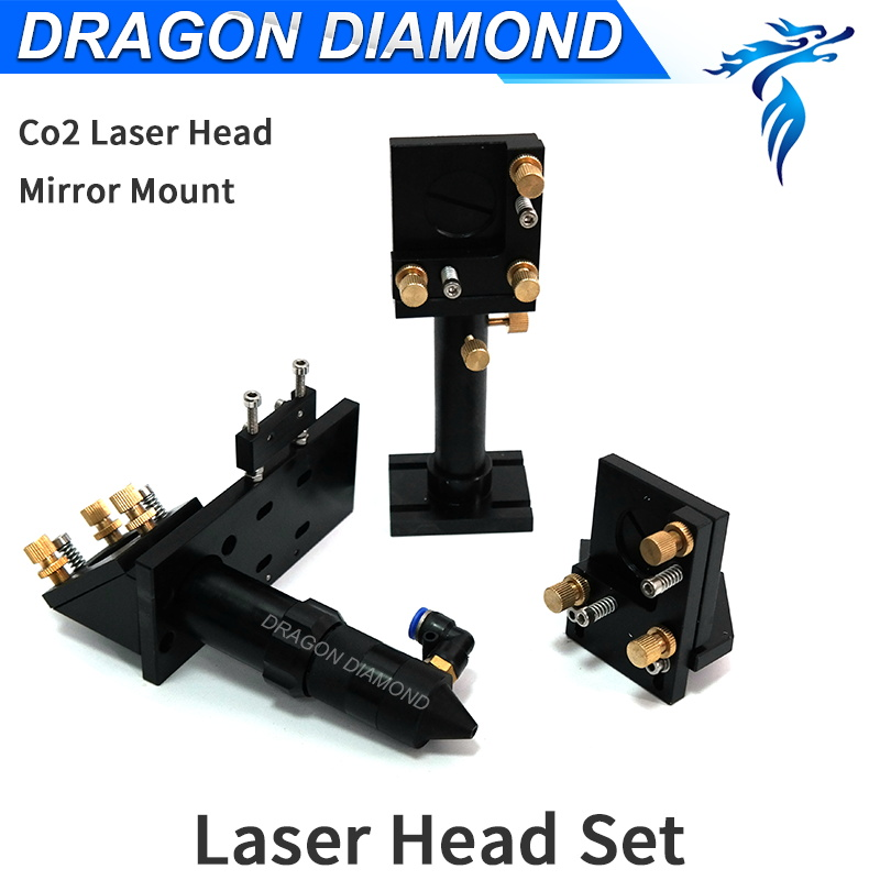 Laser Head Set Dia lens 20mm FL 50.8 63.5 101.6 Mirror 25mm reflecting Integrative Mount for CO2 Laser Engraving Cutting Machine aluminum co2 laser head set dia 20mm znse focal focus lens fl 50 8mm integrative mount dia 20mm si reflective mirror