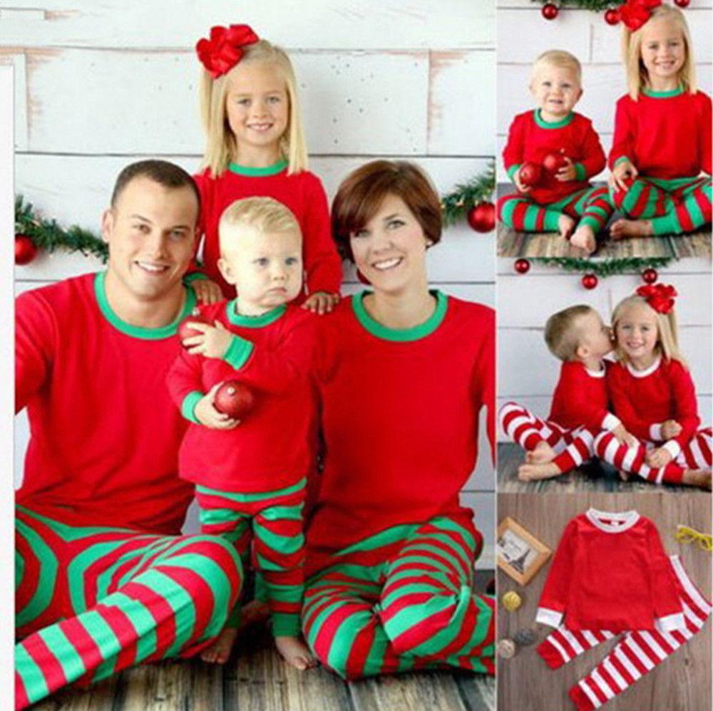 Christmas Fashion Parent-child Pajamas Nightclothe Stripe Costume Suit Kids Adult Women Men Long Sleeve Shirt