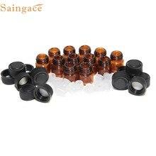 12pc 1 ml ambarina garrafa de óleo essencial com redutor de orifício e tampa óleos essenciais ou suprimentos de laboratório reusável pequena garrafa