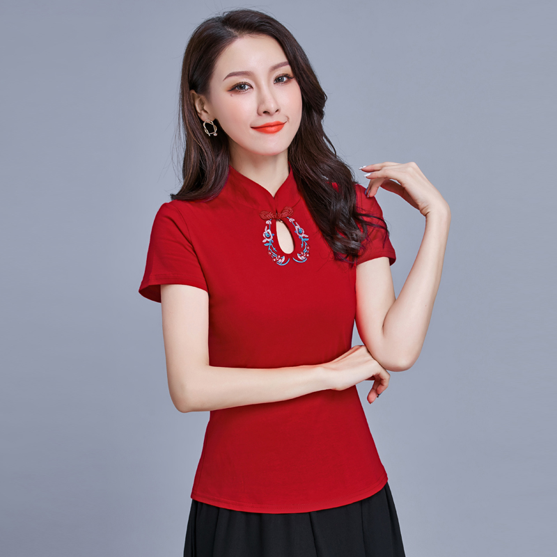 Female Lady Retro Chinese Style Embroidery Shirt  Tops Women's Summer New National Short Sleeve Mandarin Collar Cotton T-shirt