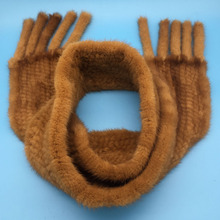 New muffler 100% real mink fur scarf with tassel hand knitted natural mink scarves Neck Warmer Poncho wholesale