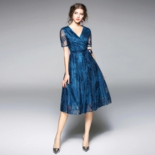 New Summer Womans Lace Dress V-neck Female Casual A-line Dresses Short Sleeve Solid Midi Slim Knee-length Woman