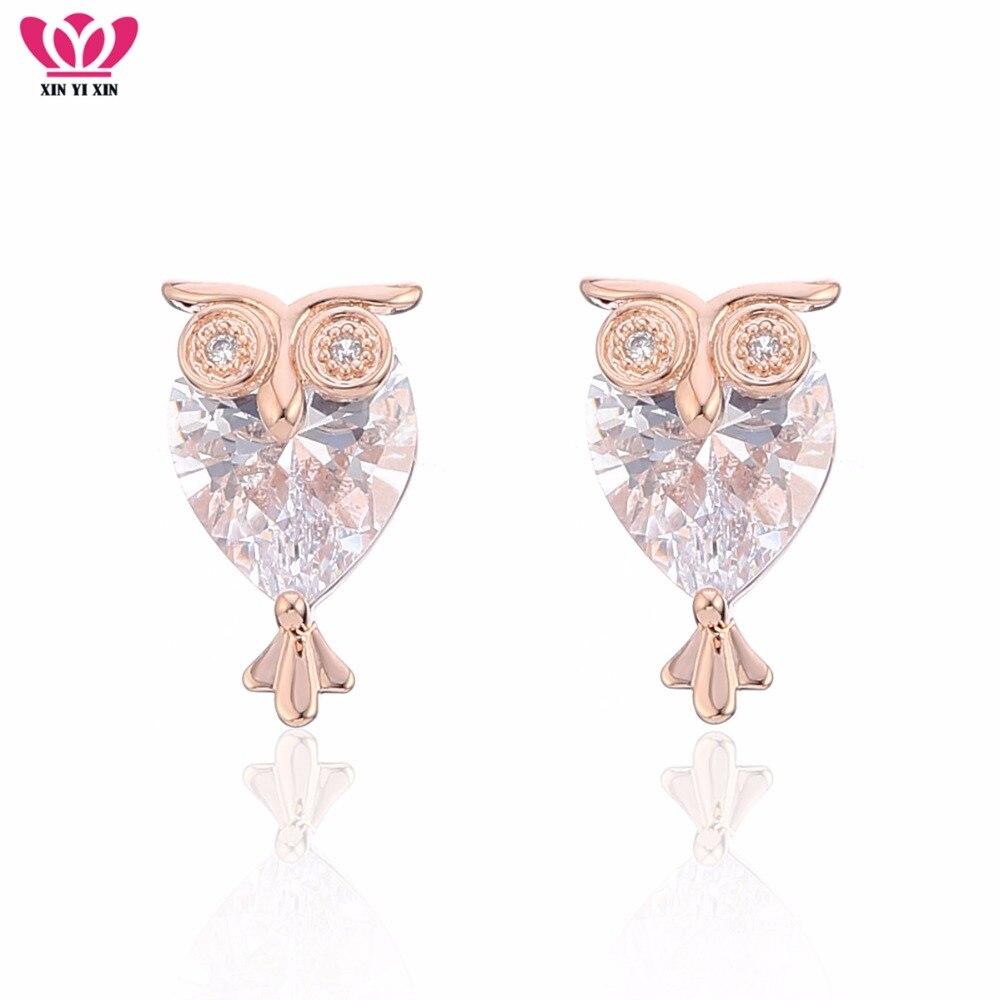 Rose Gold Women Owl Ear Big AAA Cubic Zirconia Stud Earrings CZ Stone Animal Earring Fancy Girl Gift Fashion Jewelry Accessories