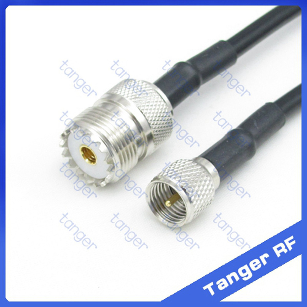Hot sale Tanger Mini UHF male plug PL259 SL16 to UHF female jack SO239 straight RF RG58 Pigtail Jumper Coaxial Cable 20inch 50cm цена