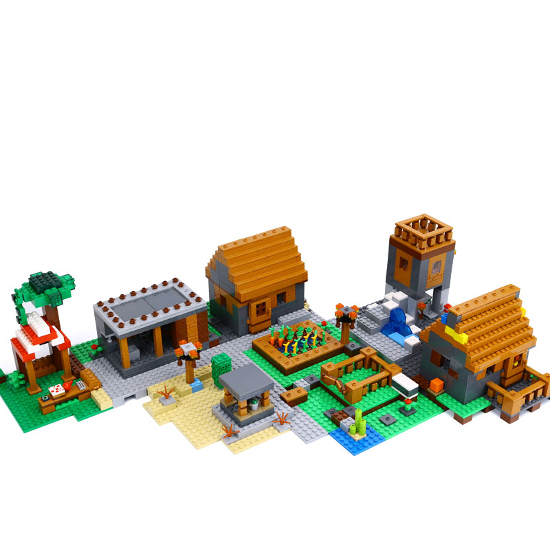 1106pcs My World Compatible Legoed Minecrafted Building Block My Village Bricks DIY Brinquedos Gift Toys for kids dropshipping lepin 18010 my world 1106pcs compatible building block my village bricks diy enlighten brinquedos birthday gift toys kids 21128