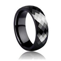 Hohe Qualität 4mm/7mm Prisma Design Facettierten Schwarzen Keramik Ringe für Mann Finger Ringe Comfort Fit Größe 4-11