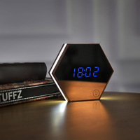 Night Light Portable Mirror Alarm Clock Rechargeable Digital Alarm Clock LED Table Lamp @LS