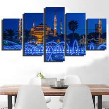 Modern Prints Wall Art 5 Pieces Islamic Churches Mosque And Fountain Scenery Painting Modular Pictures Unframed