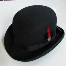 Frauen männer Schwarz Winter Warme Wolle Bowler Fedora-Hut Hantom lr Amir Khan fliehen Gentleman Leder Luxus Billycock Hüte