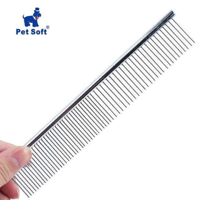 Para acero inoxidable suave peine Trimmer aseo cepillo del peine de acero inoxidable de mascota perro gato peine pelo vertimiento aseo peine de pulgas
