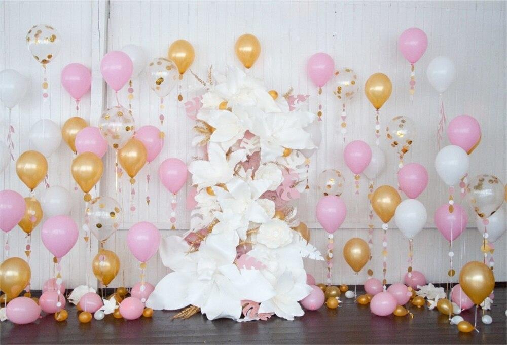 Laeacco Bunte Ballone Blumen Baby Geburtstag Fotografie Hintergrund