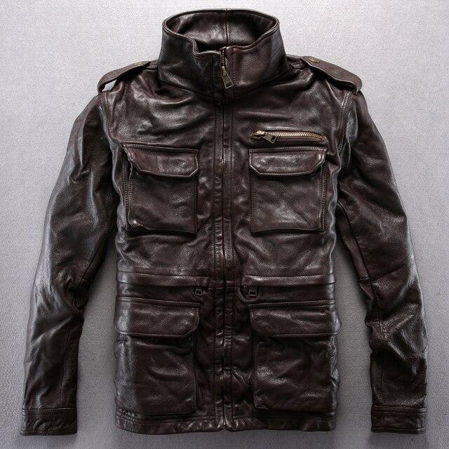 2014 Del collar Del Soporte Multi-bolsillo de Cuero Genuino Engrosamiento Del Zurriago Del Ocio Alfa jubón chaquetas de cuero de Los Hombres