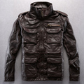 2014 Stand collar Multi-pocket Genuine Leather Thickening Cowhide Leisure Alpha jerkin Men's leather jackets