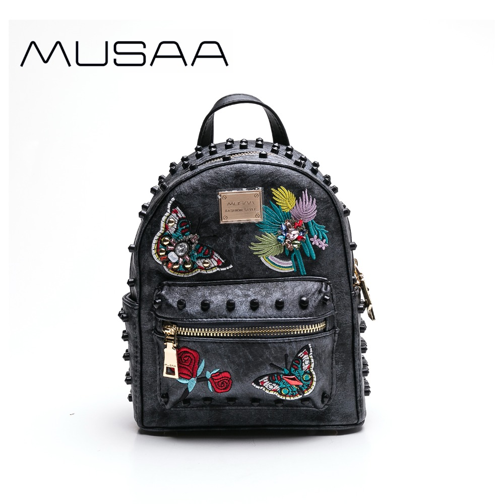 MUSAA Vintage Black Mini Backpack female 2018 PU leather School Shoulder bag Embroidery Rivet Fashion Wholesale ButterflyMUSAA Vintage Black Mini Backpack female 2018 PU leather School Shoulder bag Embroidery Rivet Fashion Wholesale Butterfly
