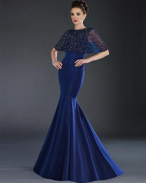 Sparkly Beaded Shawl Royal Blue Satin Mermaid Evening Dresses Women ...