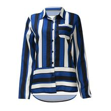 Womens Plus Size Long Sleeve Lapel Collar Chiffon Blouse Irregular Stripes Patchwork Printed Casual Shirt Button Down Side Split недорго, оригинальная цена