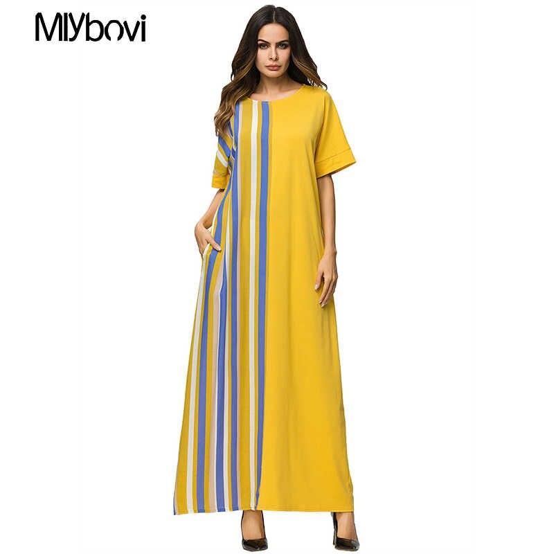 Fashion Adult Pacthwork Robe Dress Muslim Turkish Abaya Musulman Arab  Worship Knitted Yellow Dresses Kaftan Muslim 919c3c7e2985