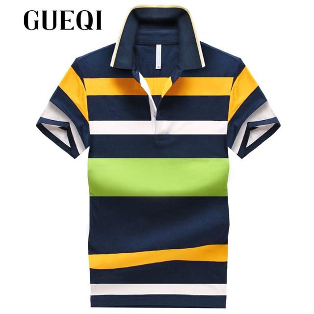 GUEQI Men Fashion Striped Shirts Plus Size M-4XL Turn Down Collar Breathable Tops 2017 New Summer Man Casual Polo Shirts